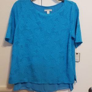 NWT Blue Top with floral pattern